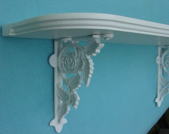 Handcrafted Wood Shelf with Rose Cast Iron Brackets