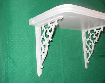 Small Wood Shelf with Cast Iron Brackets