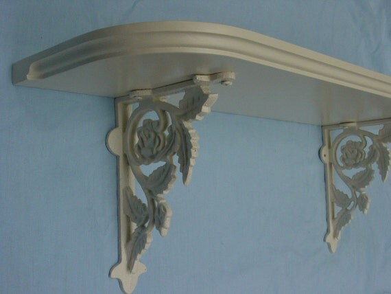 Handcrafted Wood Shelf with Rose Cast Iron Brackets, in Heirloom White