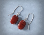 Small, Deep Red Wood Earrings with Sterling Earwires