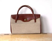 Vintage Canvas and Leather imitation Handbag, Dova, beige, brass
