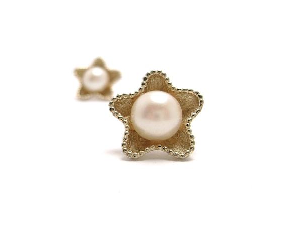 Vintage Starfish Earrings - Pearl Imitation  - eighties
