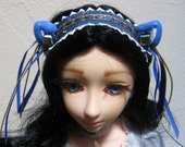 Kitty Maid head band for BJD.Blue and Copper Trim with Ribbons