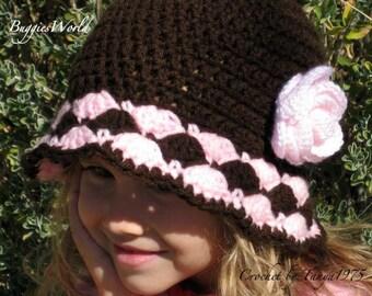 Boutique Crochet Hat w/rose 2 3  5 6 T.