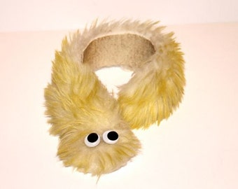 Super Weird Yellow Furry Vintage Googly Eyed Scarf