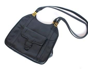 SALE Vintage 80s Basics Dark Navy and Gold Strap Handbag