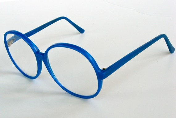Bright Blue Glasses Frames : Vintage Oversized Bright Blue 1980s Glasses Frames
