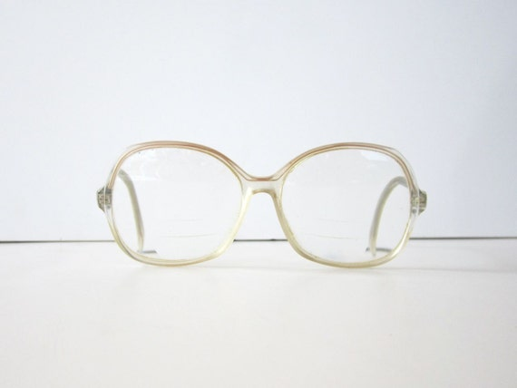 SALE Vintage 1980s Doe Khaki Clear Glasses Frames