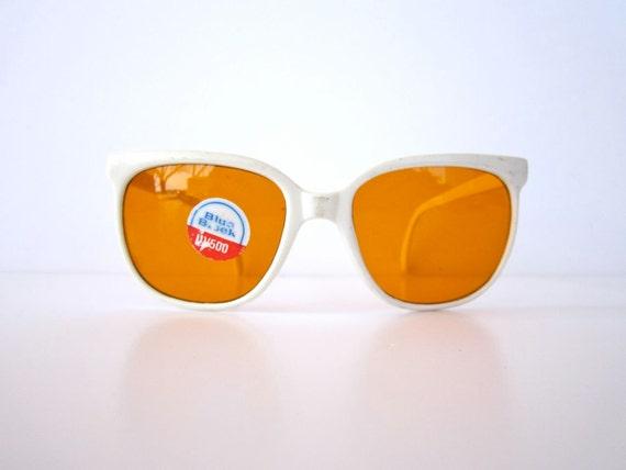 Vintage White Framed Deadstock 1980s Yellow Lens Sunglasses