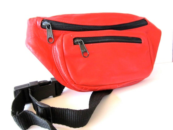 Vintage 1980s Genuine Red Leather Fanny Pack