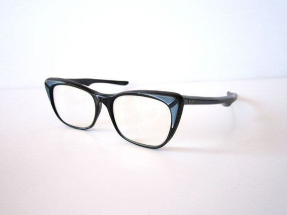 Vintage 1950s Black and Blue Raybert Cat Eye Glasses