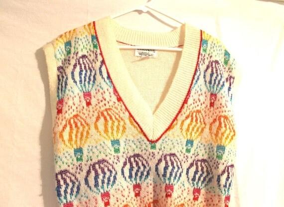 Kawaii Vintage 1980s Rainbow Hot Air Balloon Sweater Vest