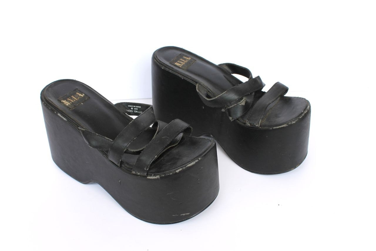 Payless Power Reviews >> Vintage Distressed 90s Platform Shoes Base For Bottoms of Your