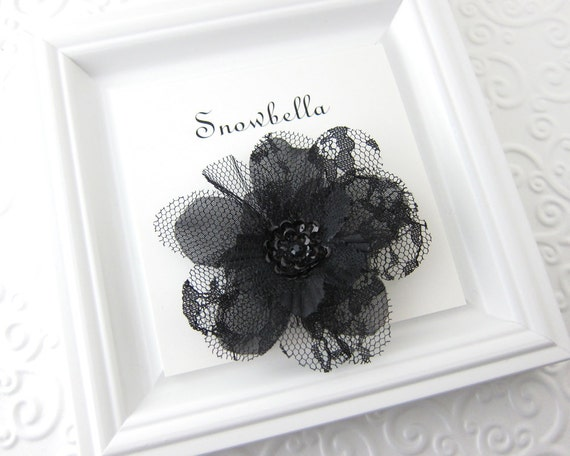Lace Flower Hair Clip Sequin Lacey Hair Flower Fascinator Black
