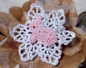 Girls Bunny Rabbit Crochet Brooch, Jewelry, Pin, Pastel Pink, White