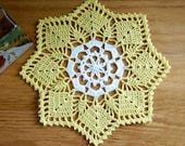 Sunshine Yellow and White Crochet Doily, Cottage Chic Home Decor, Fiber Art