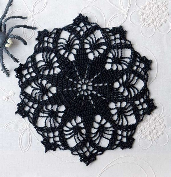 Gothic Black Crochet Lace Doily Spider And Star Design