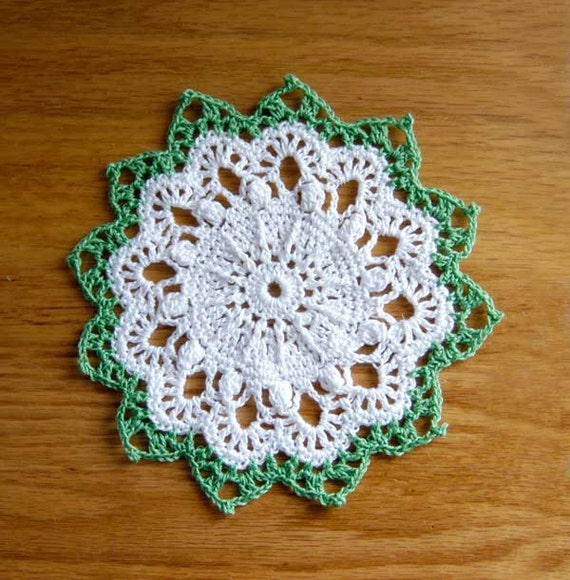 Dreamy White & Leaf Green Crochet Doily, Cottage Chic Home Decor