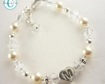 Flower Girl Bracelet in cream and crystal- persoanlized