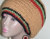 Nubian Princess Dreads Tam/ One Love/ Crochet Tam/ Crochet Earrings/ Dreads Tam