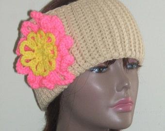 MonetCreations Headband Earwarmer in Beige with Flower