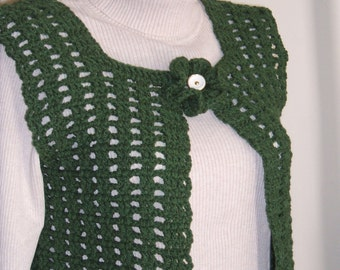 Montana Crochet Vest in Thyme with Flower Closure,