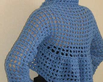 Long Sleeves Crochet Wedding Shrug Bolero in Periwinkle