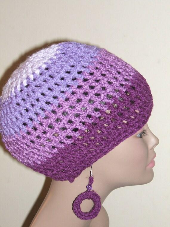 Color Me Simple Dreadlocks Tam  Purple with Earrings