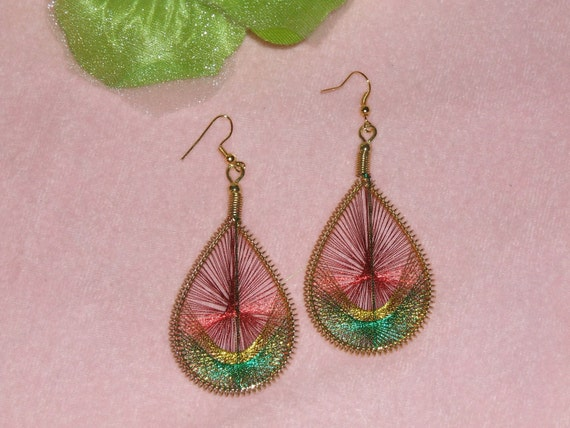 Rasta Heritage Ethiopia Teardrop Silk Thread Dangle Earrings-  Gold Coil