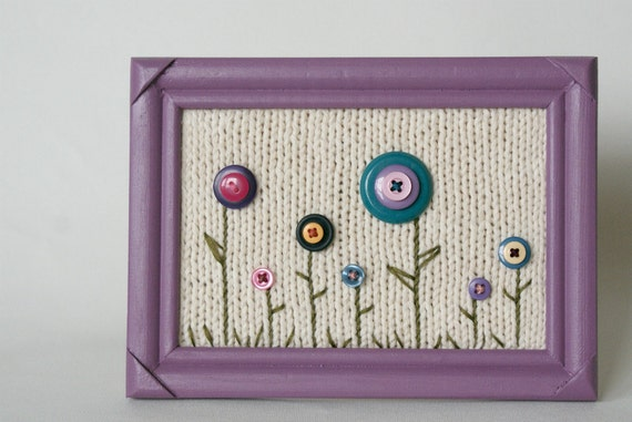 SALE Framed Knit Art, with Button Flowers, Purple