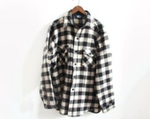 Vintage Plaid Woolrich Shirt Jacket - Mens Black and White Knit - Large