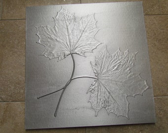 Maple Leaf Wedding Knot Tile, Unique Gift, Recycled Cast Aluminum, Made to Order