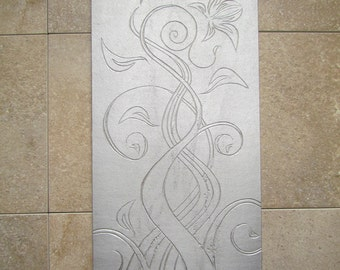 Floral Design Tile, 6 x 12 inch, Recycled Cast Aluminum, Wedding Gift, Made to Order