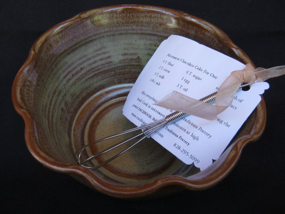 Traditions Pottery handmade Microwave chocolate bowl for one,  with wood handle whisk and recipe included