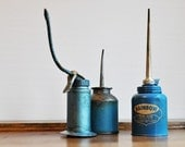 Vintage Industrial Blue Oil Can Collection