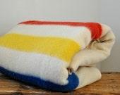 Vintage Hudson Bay Style Golden Dawn Striped Wool Blanket
