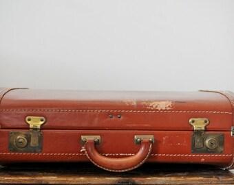 Vintage Brown Leather Suitcase 20 Inch Top Grain Cowhide