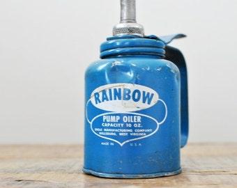 Vintage Blue Eagle Rainbow Pump Oiler Industrial 10 oz Oil Can