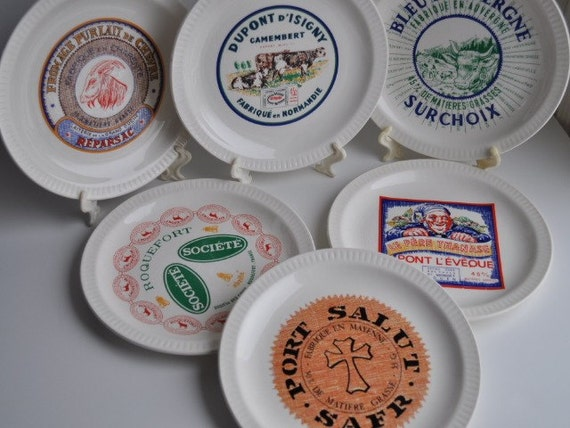 6 Vintage French Cheese Label Appetizer Plates