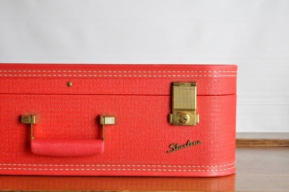 Vintage Cherry Red Starline Suitcase
