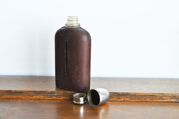 Vintage Leather Bound Glass Flask