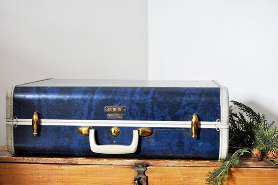 Vintage Samsonite Marbled Blue Suitcase