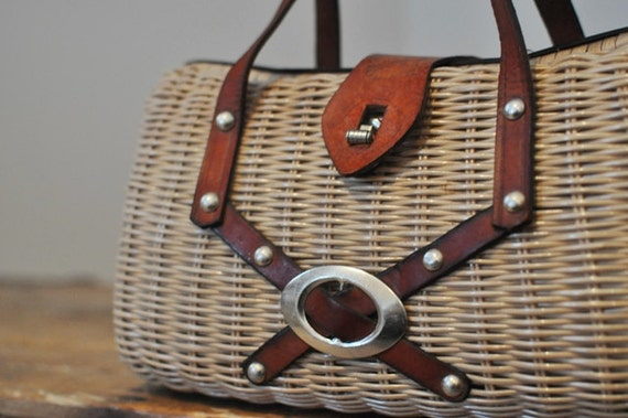 Vintage Wicker and Leather Purse