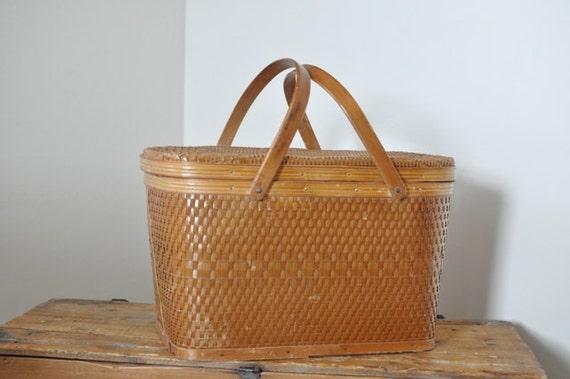 Vintage Woven Picnic Basket