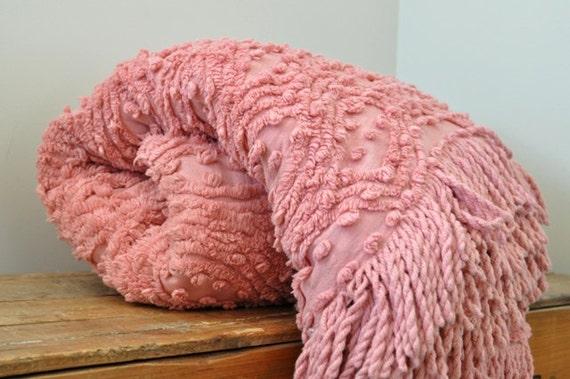 Vintage Chenille Pink Bedspread