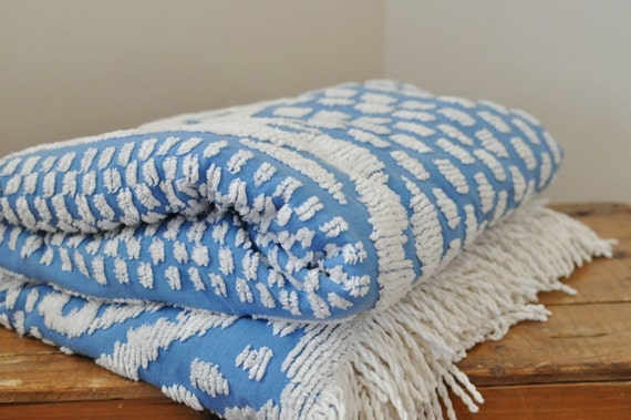 Vintage Chenille Blue and White Double Bedspread