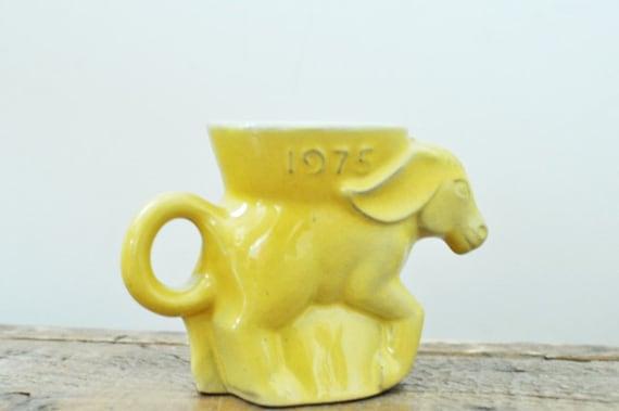 Vintage Frankoma 1975 Yellow Political Donkey Mug Democrat