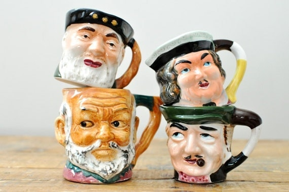 Vintage Toby Mug Collection Set of Four Small Mugs