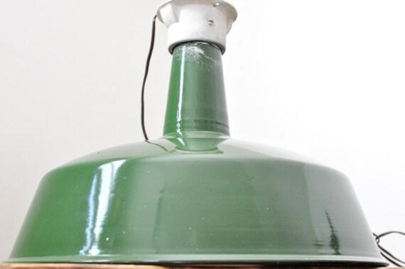 """Vintage Industrial Green Enamel Gas Station Large Hanging 18"""" Pendant Light"""