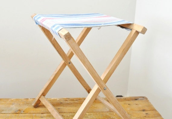 Vintage Folding Camp Stool Red White and Blue Striped Seat